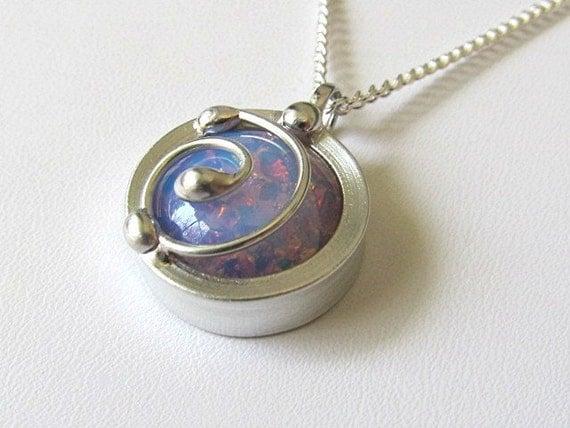 Glass Pendant Necklace Vintage Pink Glass Fire Opal