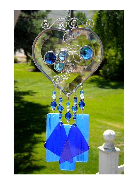 Stained Glass Beveled Heart Wind Chime