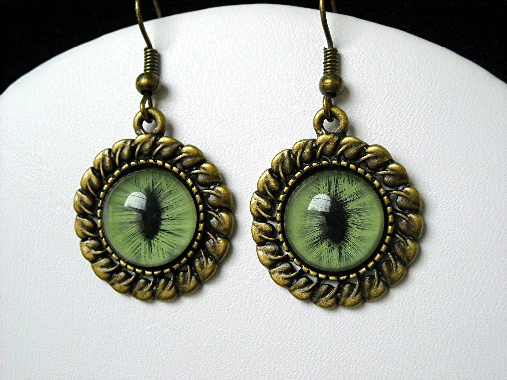 Earrings Cat Eye Taxidermy Jewelry Dangle Hand Painted Green