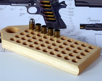 """Maple reloading block with standard depth holes for pistol calibers - 1/2"""" diameter - .45 ACP, 10mm, 9mm, other."""