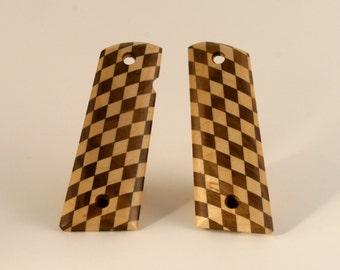 Walnut and Maple Diamond Pattern Full Size 1911 Pistol Grips