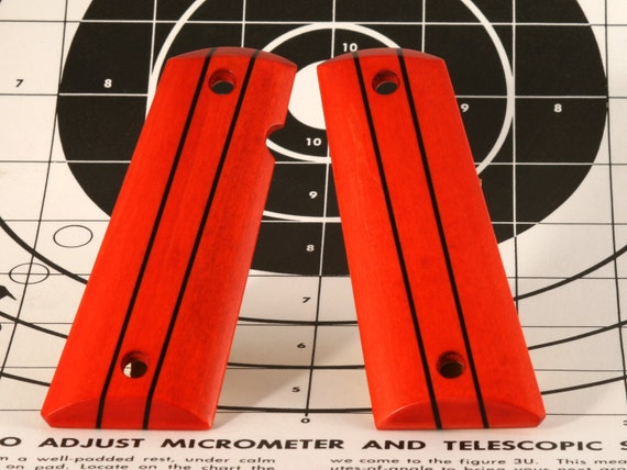Red Maple with Ebony Stripes Full Size 1911 Pistol Grips