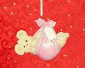 PERSONALIZED CHRISTMAS ORNAMENT  Pink Bear In A Bundle