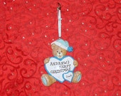 PERSONALIZED CHRISTMAS ORNAMENT - Blue Bear With A Heart