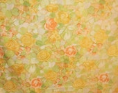 Vintage Full Sheet Flat Watercolor PAIR Roses Green Leaves Double Bed Linens