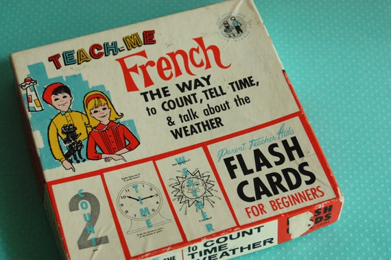 Vintage French Flash Cards Time Weather Counting Box Set