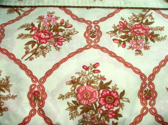 Full Sheet Flat Pink Brown Flowers Cottage Shabby Chic Double Bed Bedding Linens
