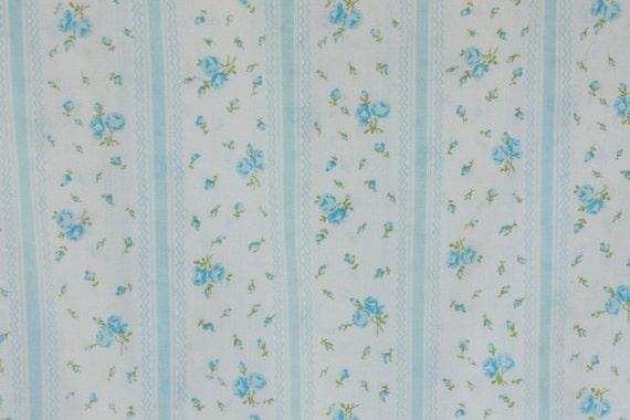 Twin Flat Sheet Blue Roses Ticking Stripe Flowers Shabby Chic 363