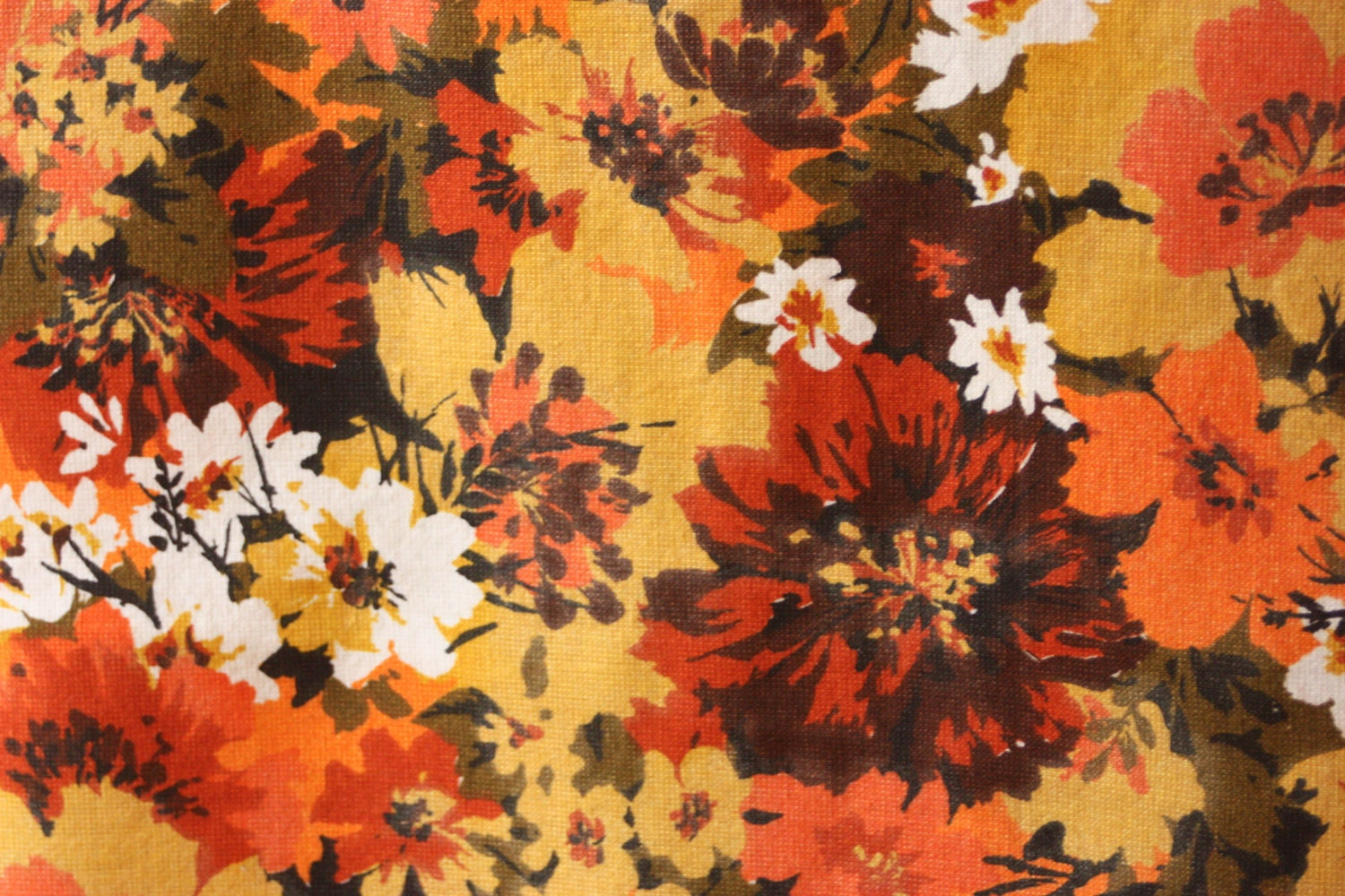 Vintage Fabric Brown Orange Yellow Flowers Mod by myvintagewhimsy
