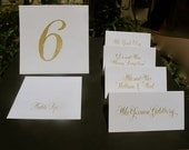 Handmade Wedding Calligraphy Escort or Place Cards in Gold ink