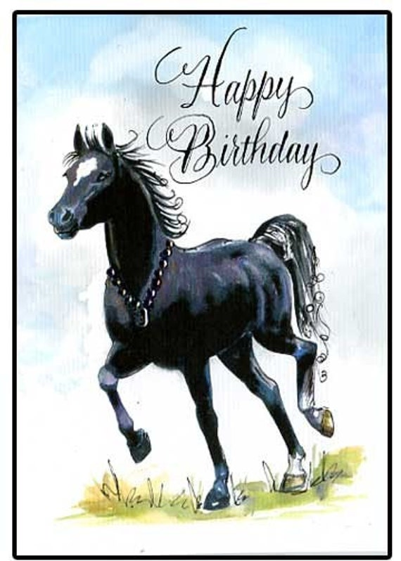 Happy Birthday Horse Card by hilink on Etsy