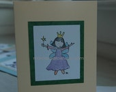 Original-design, hand-colored card - Fairy in lavendar