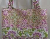 SALE - Daffodilhilltoo Daisy Chain pink and green medium tote purse