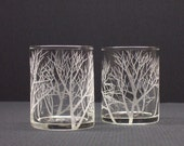FREE SHIPPING . Two Engraved Glass Votive Holders,  'Reaching Branches' . FREE SHIPPING