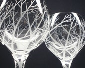 2 Red Wine Glasses . Hand Engraved . 'Reaching Branches'
