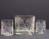 Glass Cube and Votive Holder Set, Hand Engraved With 'Reaching Branches'