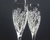 Tree Of Love Spiraled Stem . 2 Champagne Flutes . Hand Engraved