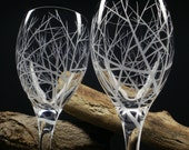 2 White Wine Glasses . Hand Engraved . 'Reaching Branches' Outdoor Entertaining Glassware