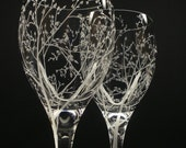 Two White Wine Glasses . 'Branches & Leaves' . Hand Engraved Wedding Gift . Bridal Party Crystal Glass Stemware