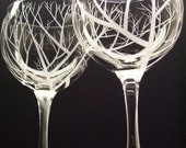 Two Hand Engraved Wine Glasses , 'Reaching Branches'