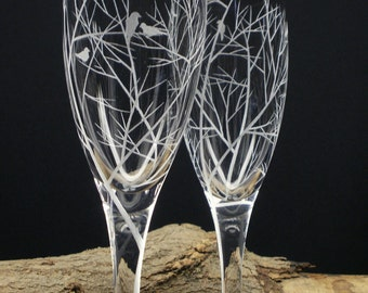 Reaching Branches With Bird Silhouettes Two Champagne Flutes Hand Engraved Weddings