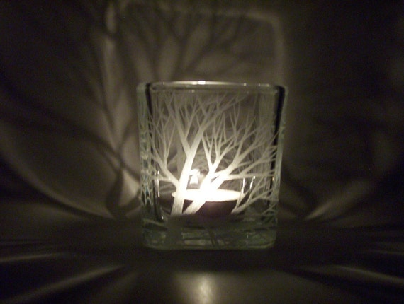 Glass Cube, Hand Engraved 'Reaching Branches' . Centerpiece Wedding Decor. Outdoor Candle Holder