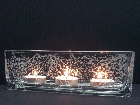 Glass rectangle candle holder hand engraved 39 branches for Long rectangular candle tray
