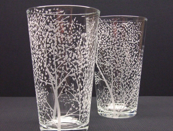 2  Pint Glasses Hand Engraved . 'Branches and Leaves' . Featured On The Front Page . Wedding Party Gift