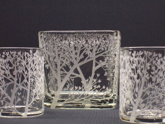 Tree of Love . Glass Cube and Votive Holder Set . Hand Engraved