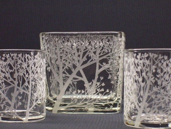 READY TO SHIP Tree of Love Candle Holder . Glass Cube and Votive Holder Set . Hand Engraved