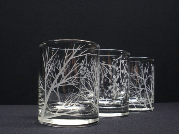 Three Votive Holders . 2  'Reaching Branches' , 1 ''Branches And Leaves' . Hand Engraved Candle Holders .  Wedding Decoration