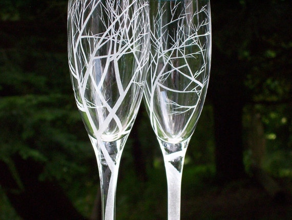 Two Champagne Flutes . Hand Engraved . 'Reaching Branches'