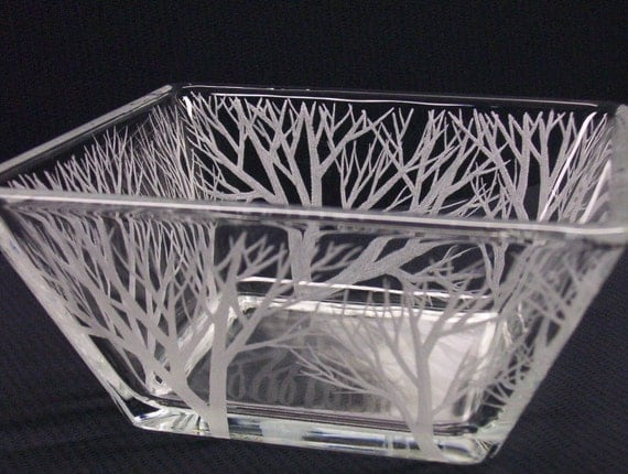 Engraved Glass Tapered Bowl . 'Reaching Branches'  Wedding Centerpiece Outdoor Decoration Candle Holder