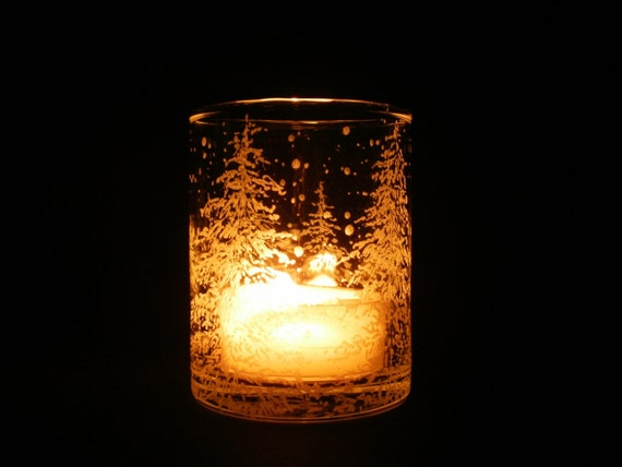 Fir Trees and Floating Flakes . Hand Engraved Glass Candle