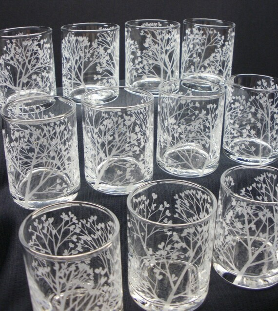 SALE . 25% OFF . Tree of Love . 1 Dozen Glass Votive Candle Holders  . Hand Engraved Wedding Decorations . SALE