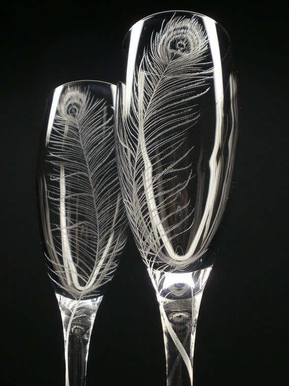 Peacock Feathers . 2 Champagne Flutes . Hand Engraved