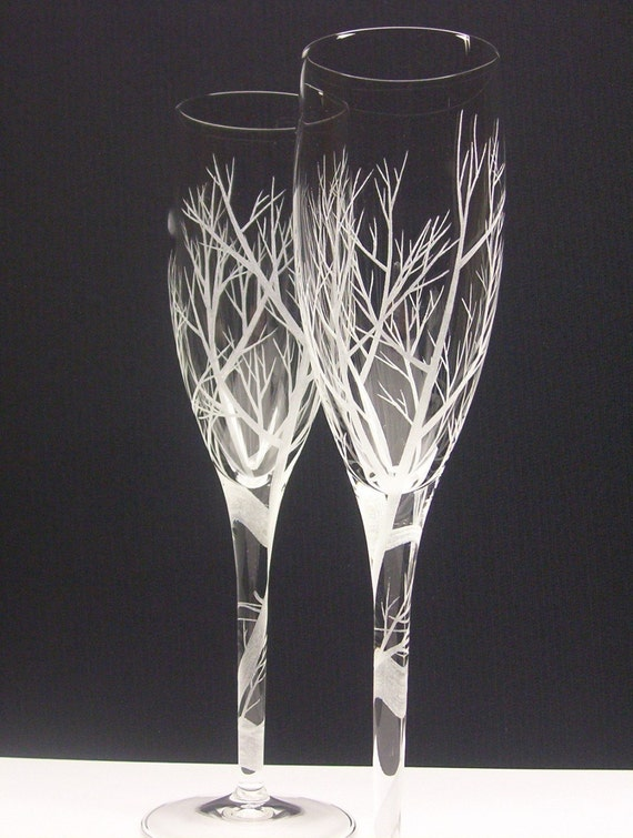 2 Champagne Flutes . 'Spiraled Stem Reaching Branches' . Hand Engraved