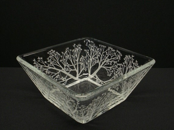 Tree Of Love . Engraved Glass Tapered Bowl