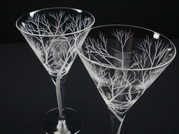 Two Martini Glasses . Hand Engraved . 'Reaching Branches' Barware Cocktail Glasses Father of The Bride Gift