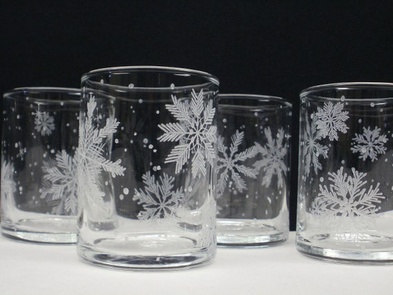 Free Shipping . Snowflake Candle Holders 4 . Hand Engraved 'Floating Flakes' . FREE SHIPPING