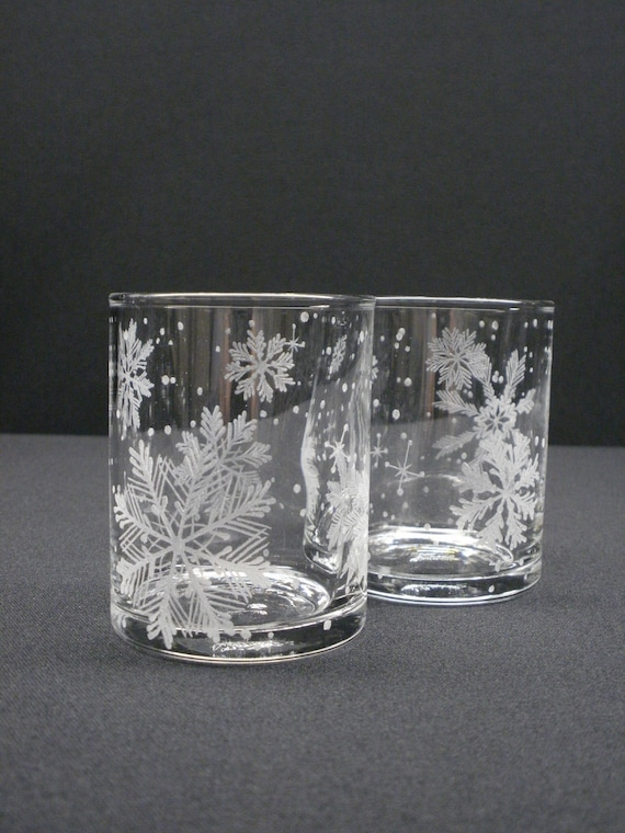 Snowflake Candle Holders 2 . Hand Engraved 'Floating Flakes' . Holiday Votive Holder