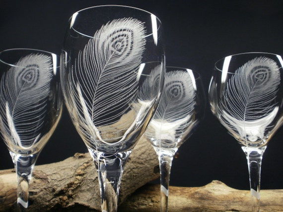Peacock Feathers . 2 White Wine And 2 Red Wine Glasses . Hand Engraved Crystal Glass