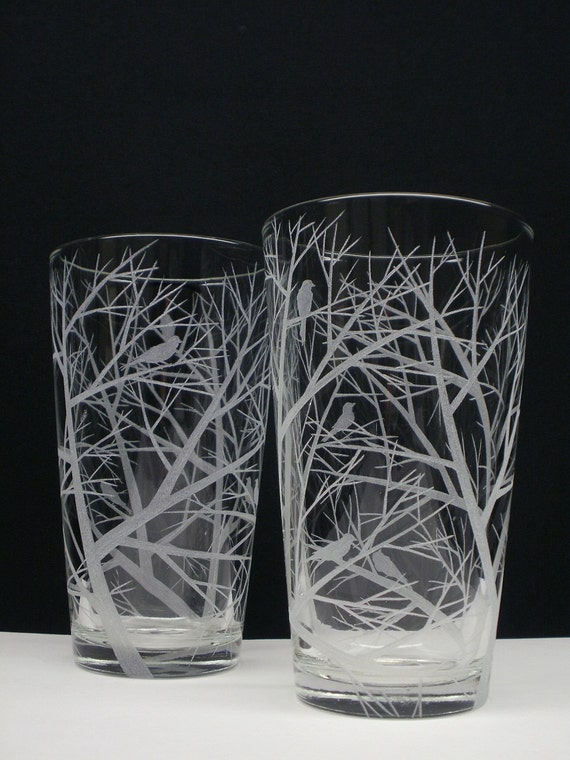 2 Pint Glasses . Engraved 'Reaching Branches With Bird Silhouettes' . Barware