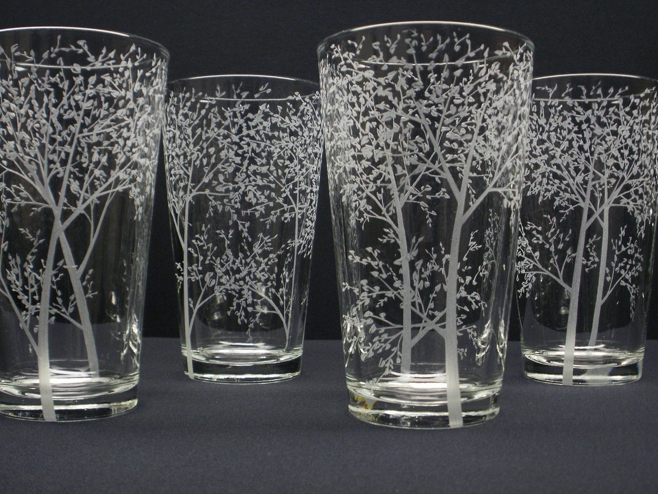4 Pint Glasses Hand Engraved Branches And Leaves