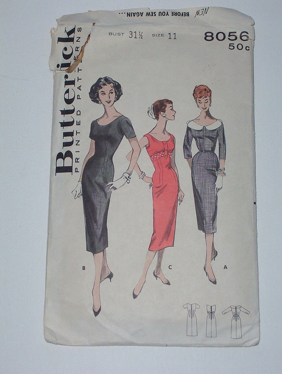 Vintage 50s Scoop Neck Wiggle Sheath Dress Pattern Butterick 8056 Size 11 Bust 31 1/2