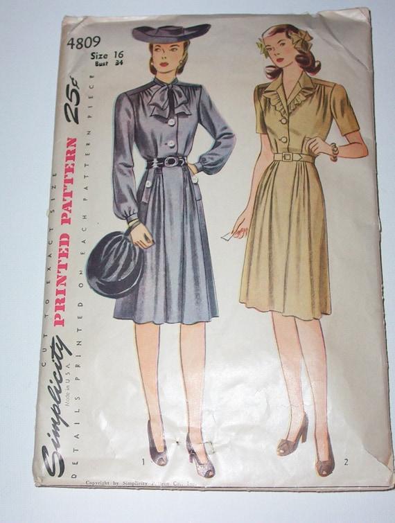 Vintage 40s Dress Pattern Simplicity 4809 Size 16 Bust 34