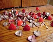 RESERVE LISTING 100 Red Heart Push Pin Tacks
