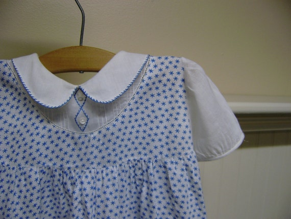 Vintage Baby Dress // Blue // Stars // Nursery // Free Shipping
