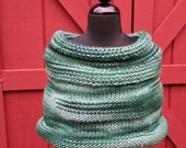 Evergreen Shoulder Wrap - Hand Knit - Gorgeous Rib - Wear as Wrap or Cowl - Dress it up or down - Great Color -  Wrap