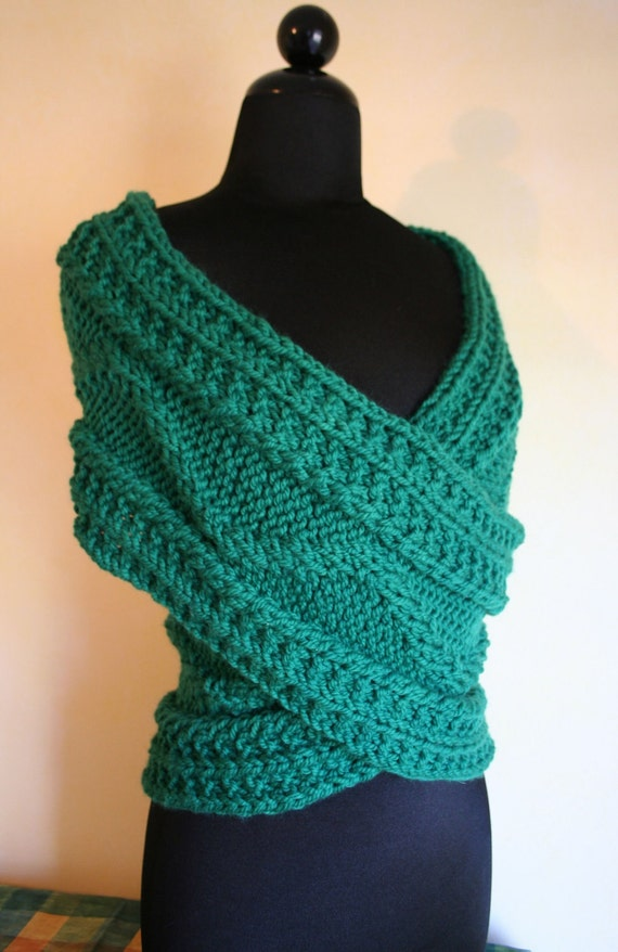 Knitting Pattern Cowl Shrug : Hand Knit Kelly Green Shoulder Wrap/ Shrug/ Cowl/ by lajumpinbean